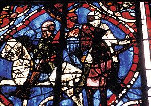 Henri II Plantagenêt chevauchant avec ses compagnons et saint Thomas Becket, vitrail XIIIe siècle © C.D.D.P. Maine-et-Loire.