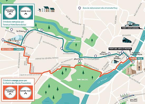 Plan des itinéraires cyclables mis en place entre Belle-Beille et le centre-ville