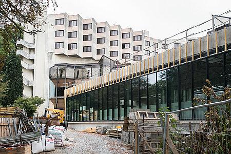 L'extension sur le jardin des Plantes en cours de réalisation. <i>(Photo: Jean-Patrice Campion, Ville d'Angers)</i>