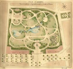 Projet d'agrandissement du jardin, par René-Édouard André. Années 1920. Archives Municipales d'Angers, photothèque, 1 Fi 1543.