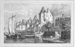 Quai du-Roi-de-Pologne. Gravure d'après un dessin de Félix Benoist, vers 1843 © Musées d'Angers - Cliché Pierre David.