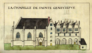 La chapelle Sainte-Geneviève.Dessin de Ballain, Angers, Bibliothèque municipale,Rés. ms. 991, p. 253 © Ville d'Angers.