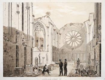 Musée lapidaire dans l'ancienne église abbatiale. Dessin d'Ernest Dainville, XIXe siècle © Musée d'Angers.Cliché Pierre David.