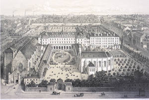 Vue générale de l'abbaye à l'époque du séminaire (dessin F. Benoist, vers 1865) © Ville d'Angers. Cliché Pierre David.