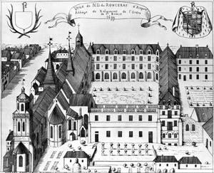 Vue de l'abbaye et de l'église paroissiale depuis l'est, d'après un dessin de Gaignières de 1699.Musées d'Angers. P. GIRAUD © Inventaire général - ADAGP, 1977.