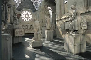 Vue générale de l'aménagement muséographique de la nef après restauration par Pierre Prunet, architecte en chef des Monuments historiques © Musées d'Angers - Cliché Pierre David.