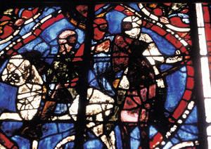 Henri II Plantagenet cabalgando con sus compañeros y Santo Tomás Becket, vitral del siglo XIII. © C.D.D.P. Maine y Loira