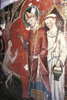 San Maurille resucitando a Renato, pintura mural de la segunda mitad del siglo XIII.