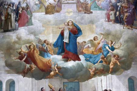 La chapelle. Détail de la peinture du choeur :l'Assomption (Lenepveu) © Région des Pays de la Loire-Inventaire général. Cliché F. Lasa.