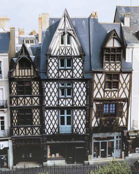 y detalle de la casa Simon Poisson, 67, rue Beaurepaire : figura incrustada © Municipalidad de Angers - Imagen  de Stéphanie Vitard
