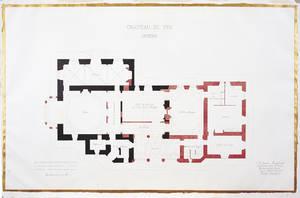 Plan du manoir du Pin (en noir) avec les agrandissements projetés (en rouge), par Jean Foulquier, 1875 © Copyright Musées d'Angers. Cliché Pierre David