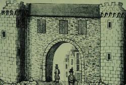 Porte Chapellière. Dessin de J.A. Berthe vers 1829. Bibliothèque municipale d'Angers. © Archives municipales d'Angers. Photothèque - Cliché Patrice  Campion.