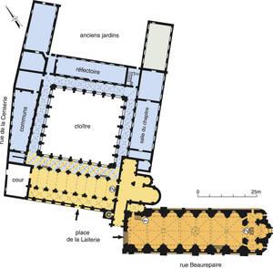 Plan d'ensemble de l'abbaye du Ronceray et de l'église de la Trinité.Cartographie : Laurence Daudin, 2006.