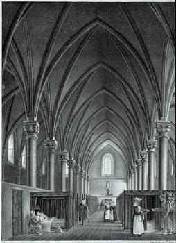 Vista interior de la sala de enfermos del hotel - Dios en 1838, litografía de Ernest Lesourd. © Museos de Angers – Imagen de Pierre David.