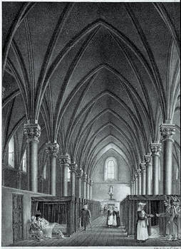 """The Great  Hall for the Sick-Overview of the museographic presentation of Jean Lurçat's work """" Le Chant du Monde """" (1957-1965)."""