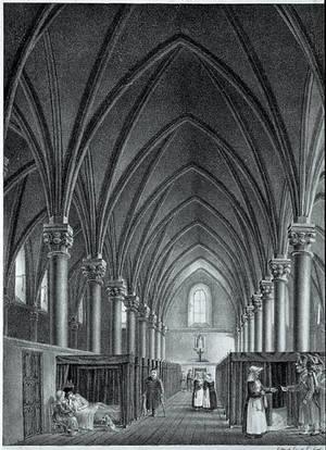 Vue intérieure de la salle des malades de l'hôtel-Dieu en 1838, lithographie d'Ernest Lesourd © Musées d'Angers - Cliché Pierre David.
