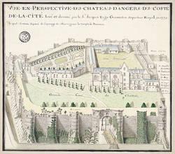 Vue en perspective de Jean Ergo (1773)©Service historique de la Défense, Archives de la Marine, Vincennes, MV 71 recueils R18 n°25.