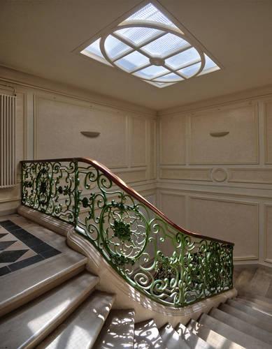 Escalier avec éclairage zénithal, hôtel de Livois © Frédéric Chobard