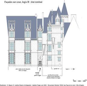 Reconstitution des façades sur cour du logis Barrault. Conception : O. Biguet, D. Letellier. Infographie I. Frager