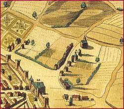 La chapelle dans le faubourg Saint-Lazare. Extrait de la vue de Claude Ménard, 1638.