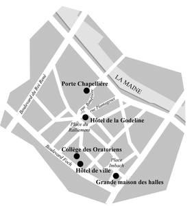 Plan de situation des différents hôtels de ville d'Angers © Studio graphique Atmosphère