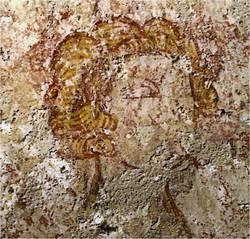 Décor représentant un visage, peint au XIIIe siècle © Frédéric Chobard