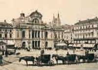 La place du Ralliement avec le théâtre et ses cafés, carte postale du début du XXe siècle. Archives municipales d'Angers - Photothèque - collection Robert Brisset, 9 Fi 291 - Cliché Patrice Campion.