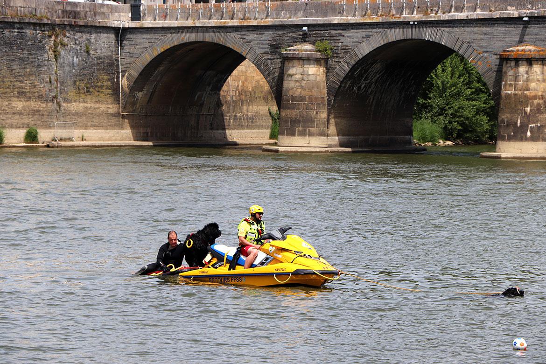 Jets-ski, sauveteurs de la FFSS et chiens secouristes étaient présents pour sécuriser les activités nautiques.