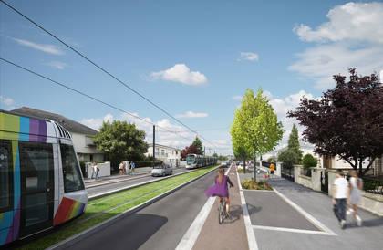 Vue d'architecte de la future ligne de tramway, boulevard Allonneau.