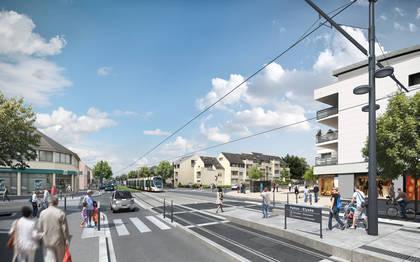 Vue d'architecte de la future ligne de tramway, avenue Patton.