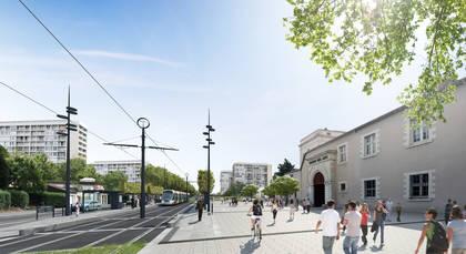 Vue d'architecte de la future ligne de tramway, avenue Montaigne.