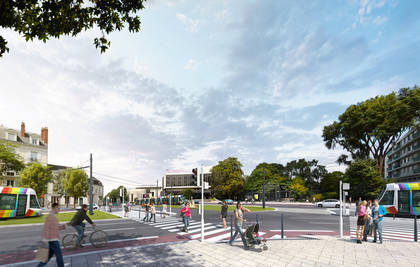 Vue d'architecte de la future ligne de tramway.