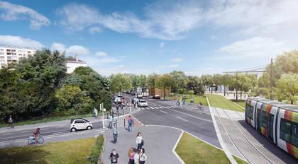 Vue d'architecte de la future ligne de tramway, boulevard Montesquieu.