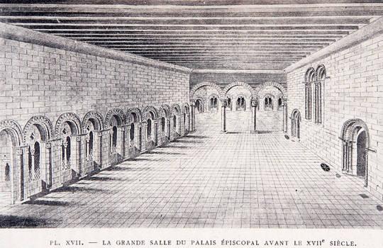 Dessin vers 1894 de la salle synodale, reconstitution de l'état antérieur au XVIIe siècle.