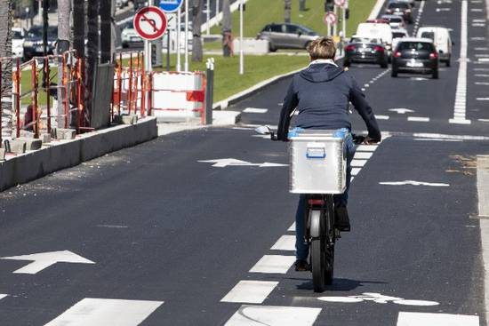 Photo de bande cyclable, boulevard Carnot.