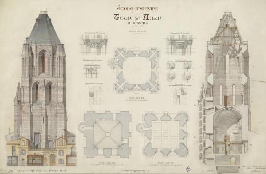 Plan de l'ancienne abbaye Saint-Aubin.