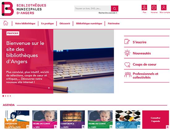 Capture d'écran du nouveau site des bibliothèques d'Angers