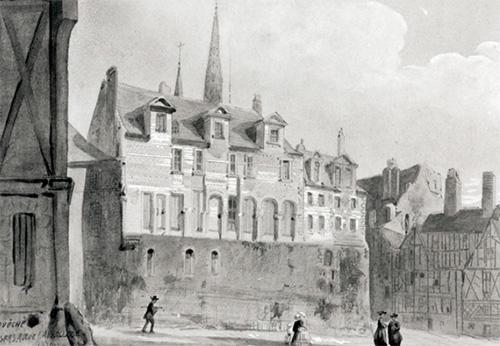 Palais épiscopal, vue sur la rue de l'Oisellerie, lavis du 19e siècle.