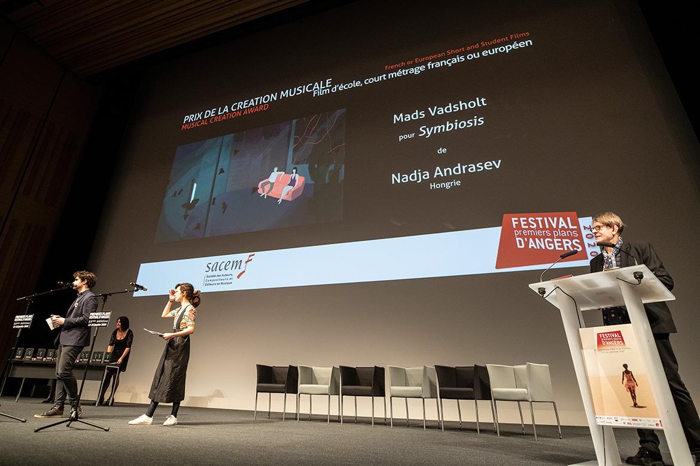 Prix de la création musicale - Film d'école, court-métrage français ou européen: Mads Vadsholt pour Symbiosis, de Nadja Andrasev.