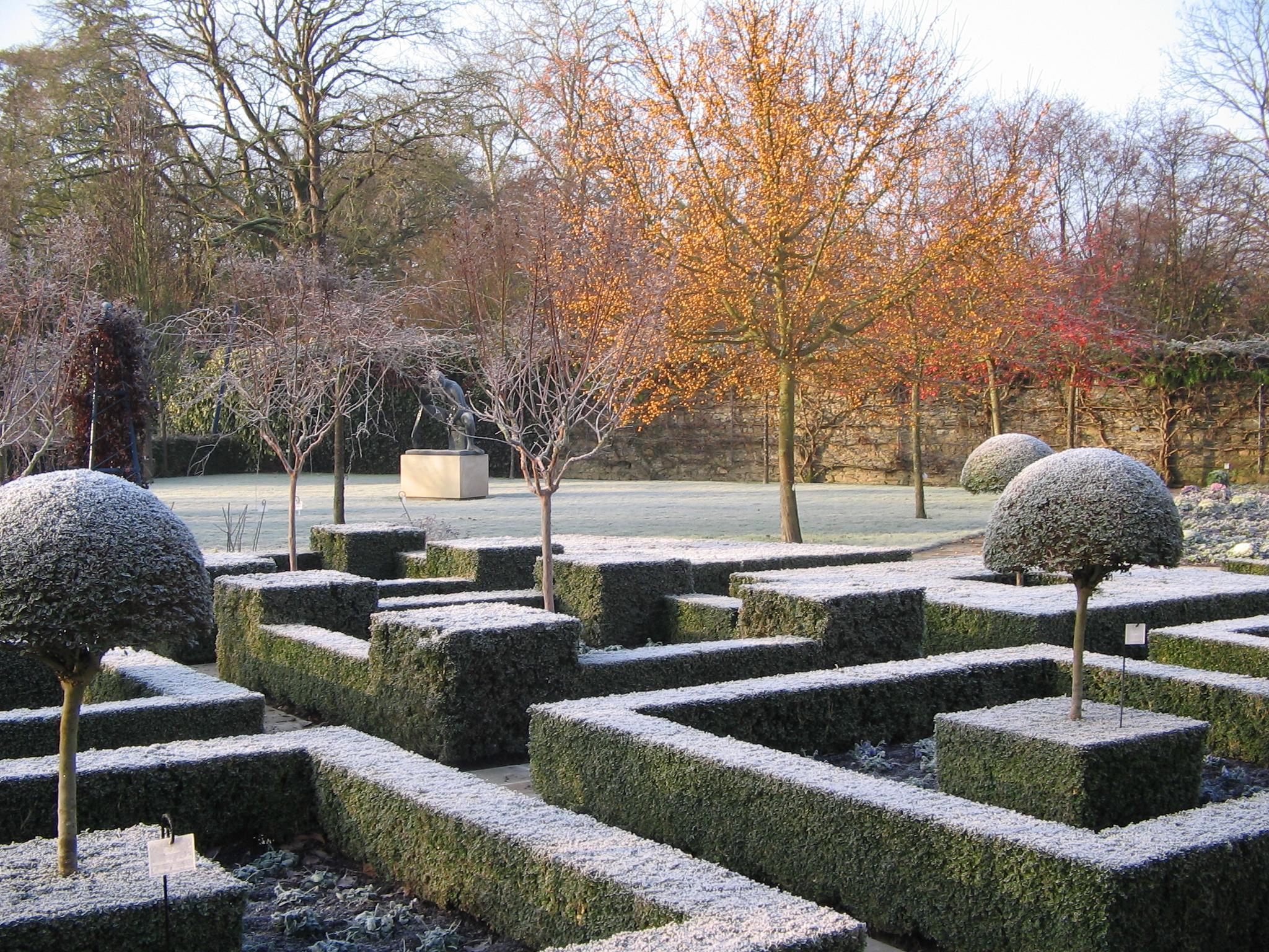 Les jardins de l'arboretum en hiver