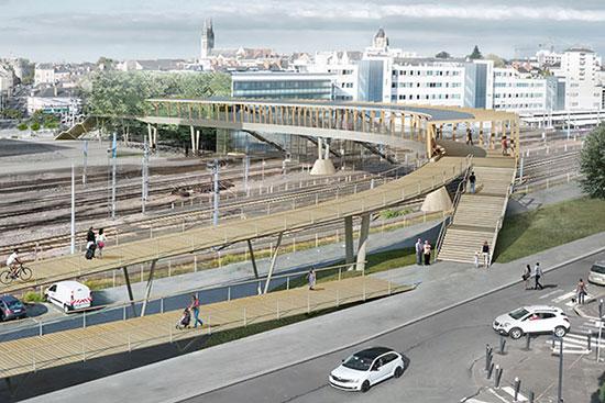 La future passerelle, vue depuis la place Giffard-Langevin. (Dietmar Feichtinger Architectes)