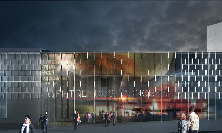 Vue d'architecte du centre de congrès rénové, nouvelle entrée