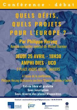 Conférence-débat Quels projets, quels défis pour l'Europe? par Philippe Herzog